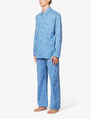 Derek Rose Nelson drawing print cotton pyjama set