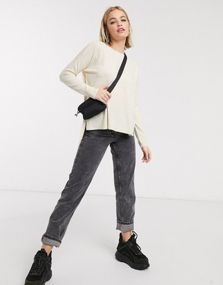 Noisy May Chen long sleeve boatneck jumper in cream