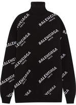 Balenciaga Oversized Intarsia Wool-blend Turtleneck Sweater - Black