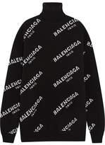 Balenciaga Oversized Intarsia Wool-blend Turtleneck Sweater