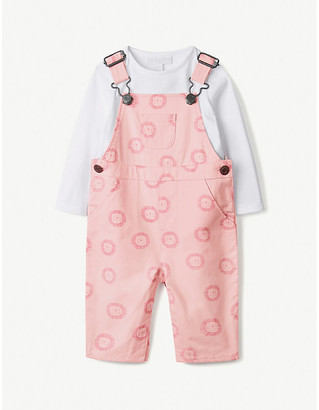 The Little White Company Lion-print dungarees and T-shirt set 0-24 months