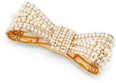 Dolce & Gabbana Crystal And Faux-pearl Embellished Bow Brooch - Womens - Pearl