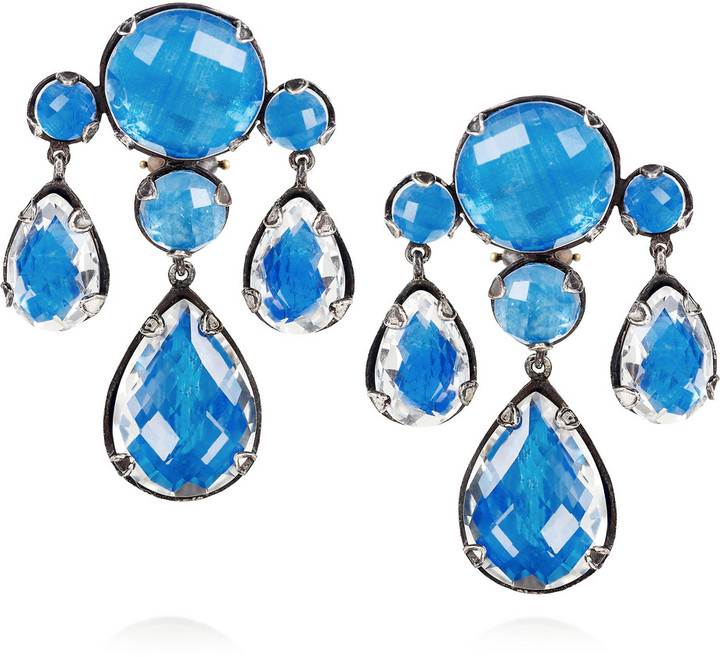 Larkspur & Hawk Haley oxidized sterling silver topaz chandelier earrings