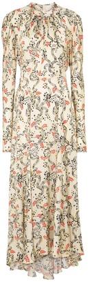 Paco Rabanne Floral satin maxi dress