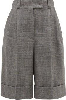 Miu Miu Pleated Wide-leg Houndstooth Shorts - Tobacco