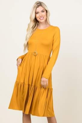 Riah Fashion Three-Layer Midi Pocket-Dress