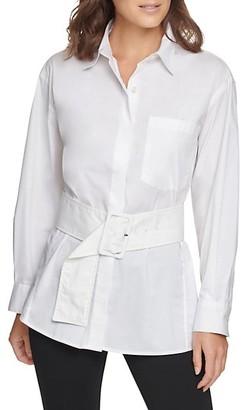 Donna Karan Belted Poplin Shirt