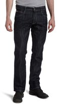 Southpole Men's 8180 Slim Straight-Fit Shiny Streaky Jean in Rinse indigo