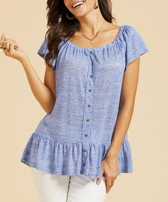 Suzanne Betro Weekend Women's Tunics 102DENIM - Denim Blue Ruffle-Hem Linen-Blend Button-Up Off-Shoulder Tunic - Women & Plus