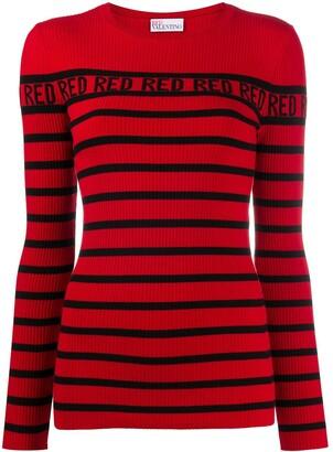 RED Valentino Striped Rib-Knit Jumper