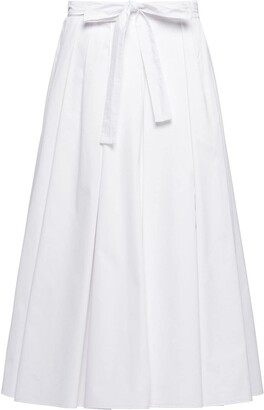 Prada Pleated Poplin Midi Skirt