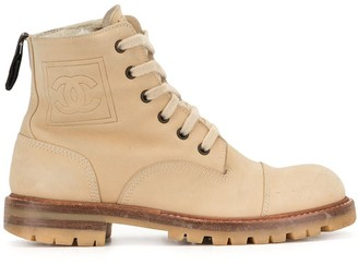Chanel Pre Owned Side Patch Lace-Up Boots