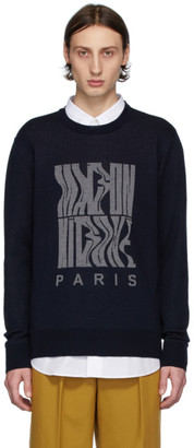 MAISON KITSUNÉ Navy Jacquard Logo Sweater