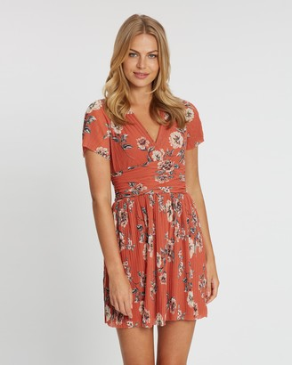 French Connection V-Neck Printed Pleat Dress