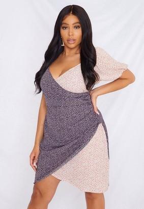 Missguided Size Pink Floral Mix Print Wrap Mini Dress