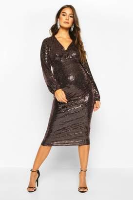boohoo Maternity Stretch Sequin Wrap Dress