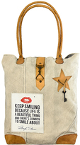 Vintage Addiction Tan 'Keep Smiling Because Life is a Beautiful Thing' Canvas Tote