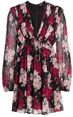 The Kooples Floral Pleated Mini Dress