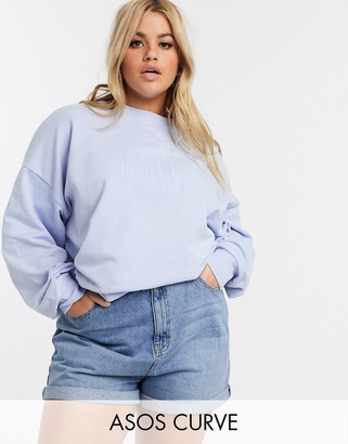Asos DESIGN Curve oversized sweat in wash with tonal Berlin embroidery