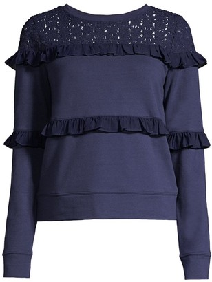Lilly Pulitzer Sonja Lace Eyelet Yoke Tiered Ruffle Sweatshirt
