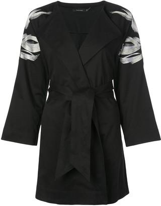 Natori Embroidered Belted Jacket