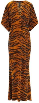 Norma Kamali Obie V-neck Tiger-print Jersey Dress - Animal