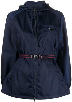 Prada Belted Waist Logo Plaque Jacket