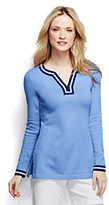 Lands' End Women's Petite Cotton Jacquard Tunic Sweater-Deep Sea Navy Stripe