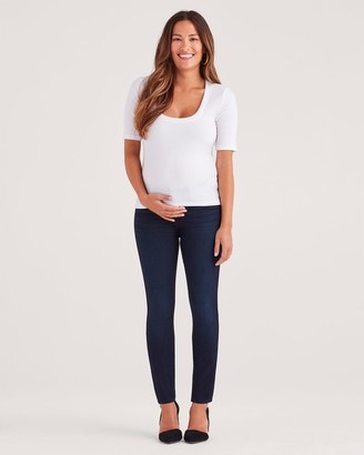 7 For All Mankind Maternity b(air) Denim High Waist Skinny in Blue Black River Thames