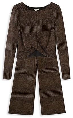 Habitual Girl's 2-Piece Metallic Knit Pant Set
