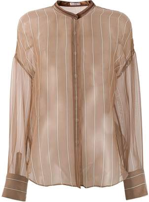 Brunello Cucinelli sheer mandarin collar shirt