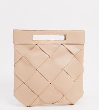 Glamorous Exclusive woven grab clutch bag with handle in taupe