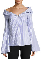 Caroline Constas Persephone Striped Dé;colleté; Shirt, Blue/White