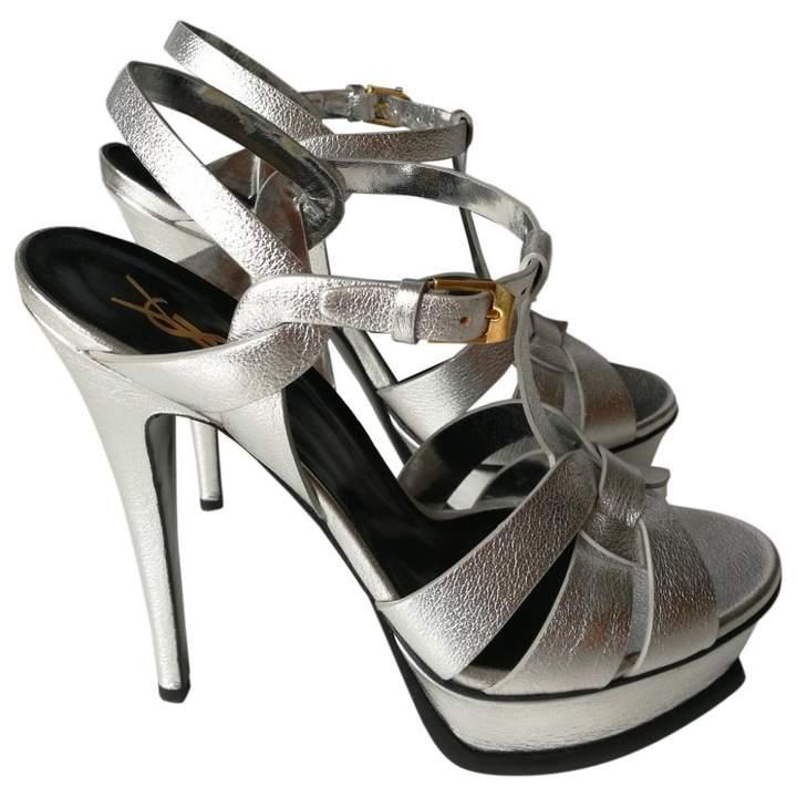 7ebc6dffd8 Saint Laurent Silver Sandals For Women - ShopStyle UK
