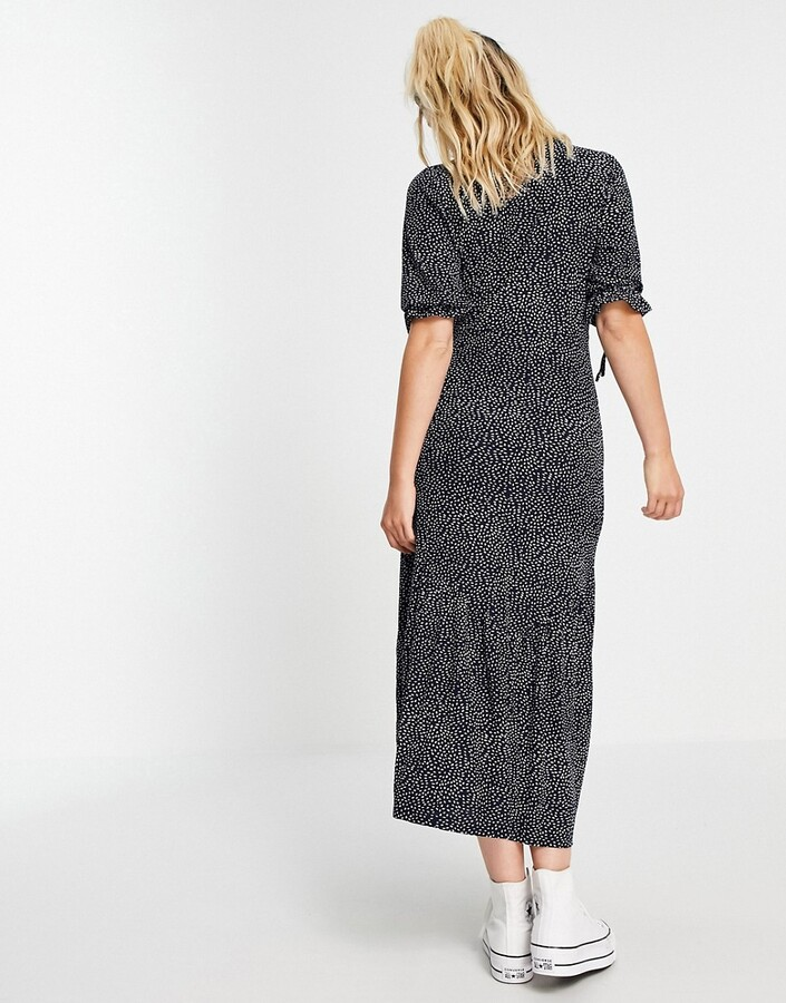 Thumbnail for your product : Qed London tie sleeve midaxi dress in navy polka dot