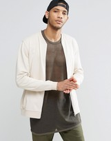 Asos Jersey Bomber Jacket In Off White