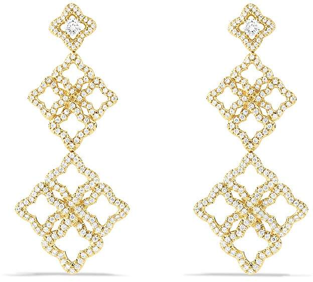 David Yurman Venetian Quatrefoil Cluster Earrings with Diamonds in Gold