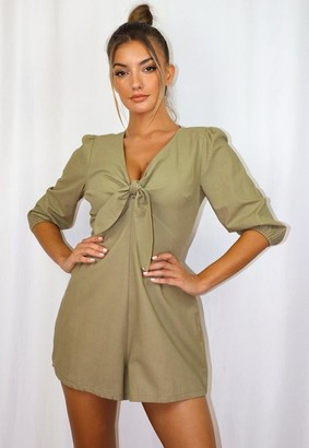 Missguided Tie Front Playsuit