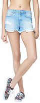 Aeropostale Womens High-Waisted Light Wash Denim Cutoff Shorty Shorts Blue