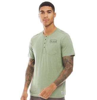 Tom Tailor Mens Henley T-Shirt With Pocket Light Summer Olive