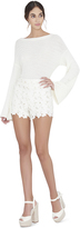 Alice + Olivia Amaris Highwaist Faux Leather Lace Short