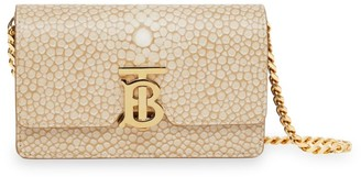 Burberry Mini Jessie TB Fish-Scale-Embossed Leather Shoulder Bag
