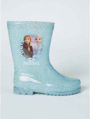 Disney George Frozen 2 Blue Glitter Light Up Wellington Boots