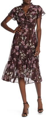 Gabby Skye Flutter Sleeve Floral Midi Dress