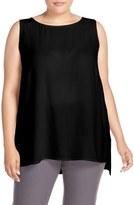 Eileen Fisher Plus Size Women's Silk Crepe Georgette Bateau Neck Shell