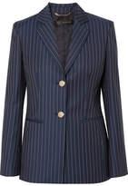 Versace Striped Wool-twill Blazer - Navy