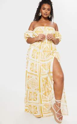 PrettyLittleThing Plus Yellow Paisley Tile Print Bardot Maxi Dress