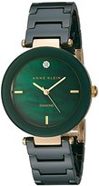 Anne Klein Women's AK/1018GNGB Diamond-Accented Green Ceramic Bracelet Watch
