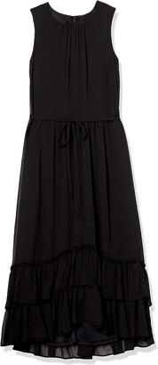 Calvin Klein Women's Sleeveless Midi Dress with High Low Ruffle Skirt