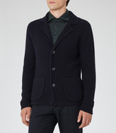 Reiss Reiss Iceland - Ribbed Cardigan In Blue